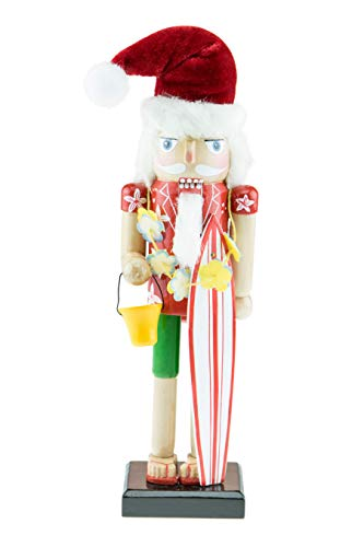 Clever Creations Surfer Santa Wooden Nutcracker - Holding Surfboard and Sand Bucket - Traditional Festive Christmas Decor - 10 inches Tall - Perfect Holiday Decoration for Shelves and Tables