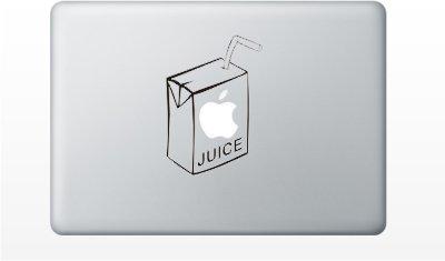 Juice Box funny cute MacBook Decal Mac Apple skin sticker pro air 11 13 15 17 BLACK
