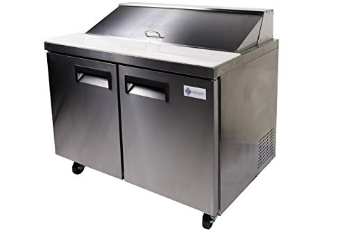 Alpha Chef Equipment Sandwich Prep Table/Salad Prep Table, 47-Inch Wide, Double Door Refrigerated Cabinet,