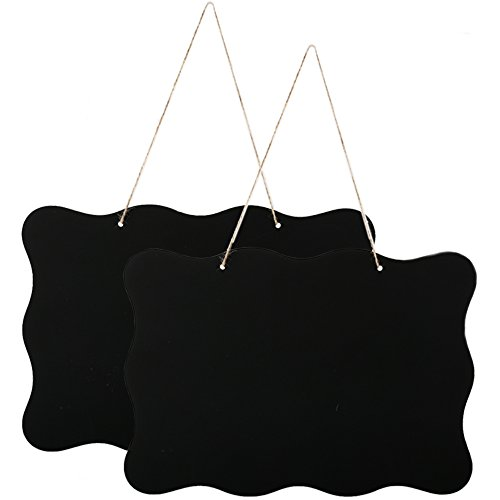 Hanging Chalkboard Sign, ManYee Double-Sided Message Board with Hanging String Wooden Blackboard for Rustic Weddings Party Kitchen Wall Garden First Day of School 2 Pack 10x14 inch