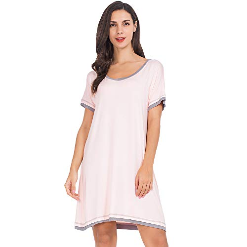 (MANCYFIT Sleep Shirt for Women Soft Nightshirts V Neck Nightgowns Short Sleeve Sleepwear Pink Medium)
