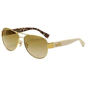 COACH Women's 0HC7059 Gold/Ivory Wild Beast/Gold Flash Gradient Sunglasses