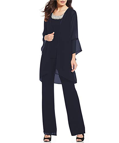 Women's Mother of The Bride Pant Suits 3 Pieces Evening Special Occasion Dress Ouftit Groom Wedding(Navy Blue,US20 Plus) ()