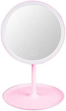 LEDメイクアップミラーLEDバニティライト化粧鏡寮折りたたみポータブル美容デスクトップカウンタータッチスクリーンミラー