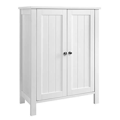 Door Double Cupboards (VASAGLE Bathroom Floor Storage Cabinet with Double Door Adjustable Shelf White UBCB60W)