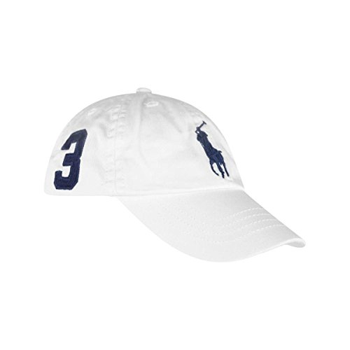 Polo Ralph Lauren Boys Big Pony Cap Hat (4-7, White/Navy)