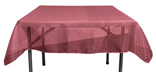 LA Linen Sheer Organza Square Tablecloth, Burgundy, 72 by 72""