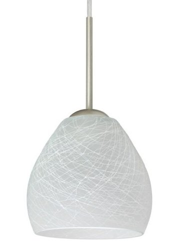 Besa Lighting 1BT-412260-SN 1X50W E12 Bolla Pendant with Cocoon Glass, Satin Nickel Finish