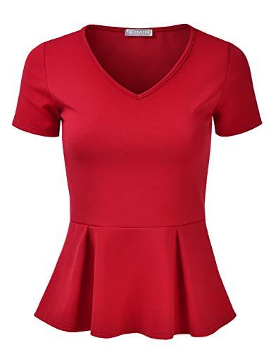 EIMIN Women's Short Sleeve V-Neck Stretchy Flare Peplum Blouse Top RED S