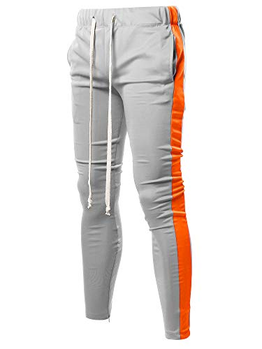 Embellished Flap - Style by William Casual Long Length Drawstring Ankle Zipper Track Pants Grey Orange L