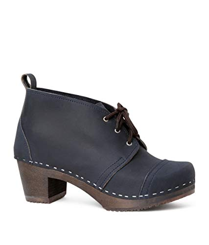 Sandgrens Swedish High Heel Wooden Clog Boots for Women | Chukka Cap Toe Navy DK, EU 38