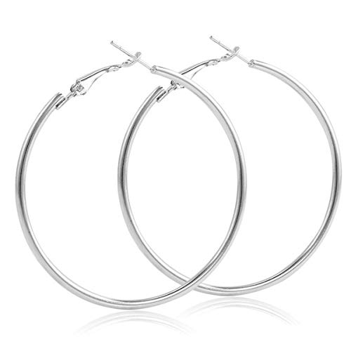IDB Stainless Steel Designer Super Big Hoop Earrings - Available in Silver and Gold Tone (Silver Tone, 3.5) (Chandelier Vacuum)