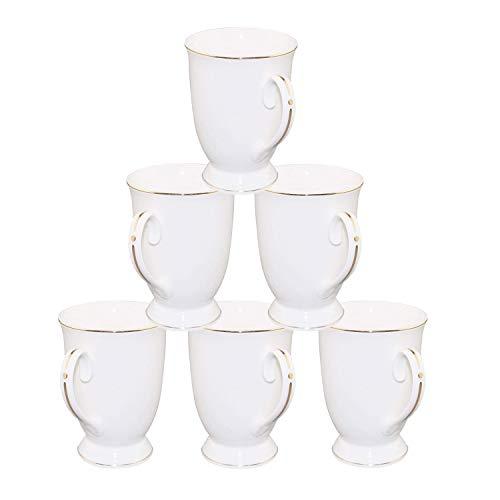New Bone China Porcelain Mug - 11 OZ Pure White New Bone China Embossed Gold Trim Ceramic Cups Set of 6 for Coffee, Tea, Cocoa (Tall Bone China Mug)