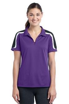 Sport-Tek Women's Tricolor Polo Shirt_Purple/Black/White_Large ()