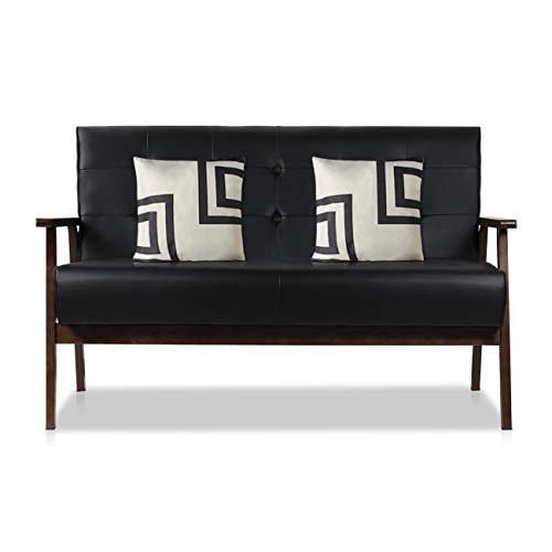 AODAILIHB Modern Fabric Upholstered Wooden 2-Seat Sofa, Sleek Minimalist Loveseat, Sturdy and Durable Double Sofa. Gift 2 Pillowcases (Black)