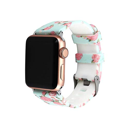 Sunbona for Apple Smart Watch Series 1/2/3 Bracelet Band 38mm, Fashion Silicone Floral Printing Double Buckle Adjustable Sports Replacement Bangle Wrist Strap Women Men Gifts (B)