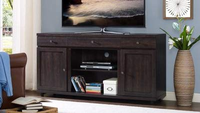 Amazon Com Tv Stand For 50 Inch Tv Dark Walnut Wood With Enclosed