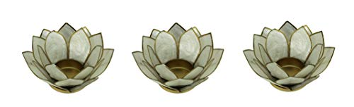 Things2Die4 White Capiz Shell Lotus Flower Small Tealight Candle Holder Set of 3