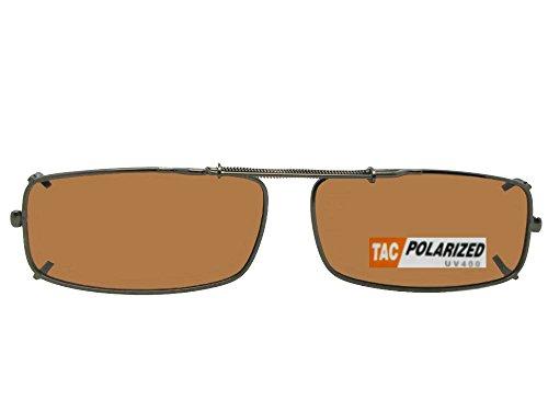 Extra Skinny Rectangle Shape Polarized Clip On Sunglasses (Dark Bronze-Polarized Amber Lens, 60mm Width x 35mm - Prescription Sunglasses Extra Dark