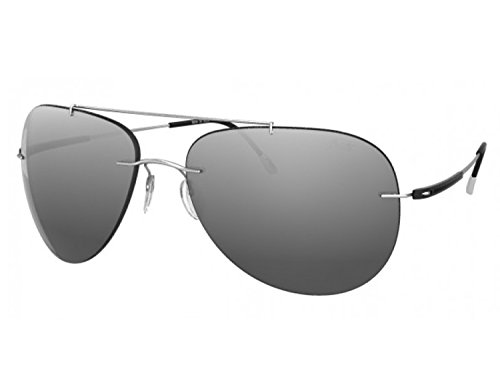 Silhouette Aviator Sunglasses Adventurer (aviator matte silver / silver mirror lens, one color) by SILHOUETTE optical