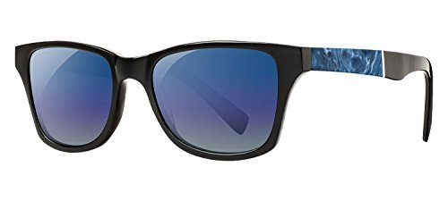 Shwood - Canby Acetate, Collaboration with Shaper Studios, Black/Midnight Surf Resin, Blue Flash Polarized - Resin Acetate