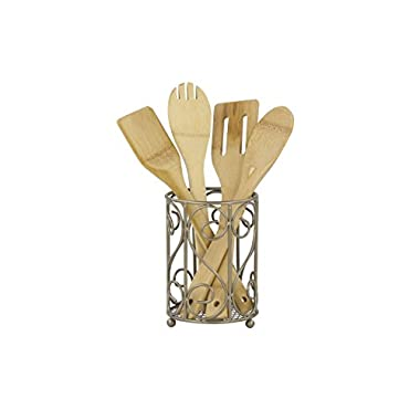 Home Basics Scroll Collection, Satin Nickel Cutlery Holder