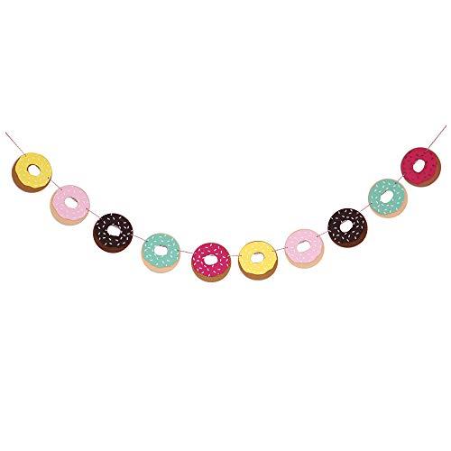 Decomod Premium Layered Felt Donut Doughnut Birthday Party Laser Cut Garland Banner