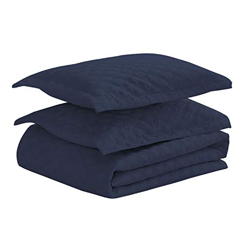 Basic Choice 3-piece Oversized Quilted Bedspread Coverlet Set - Navy Blue, King/California King by Basic Choice