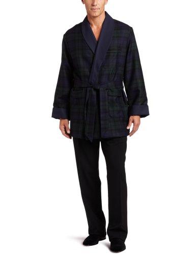 Worsted Tartan Wool - Derek Rose Men's Tartan Smoking Jacket, Navy, Large