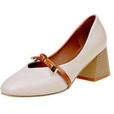 RTRY Zapatillas De Mujer &Amp; Flip-Flops Verano Confort Casual Pu Chunky Heelblack Caminar Blanco US7.5 / EU38 / UK5.5 / CN38