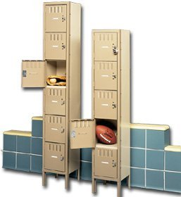 Tennsco Corp., Assembled One Wide Box Locker, Tn-Bx-6-121512Su, Opening W X D X H: 15 X 15 X 12, Oa Height: 78 In, Number Of Openings: 6, Stock Status: Stock, Color: Champagne, Bs6-121512-1 Assembled 1 Wide Champagne