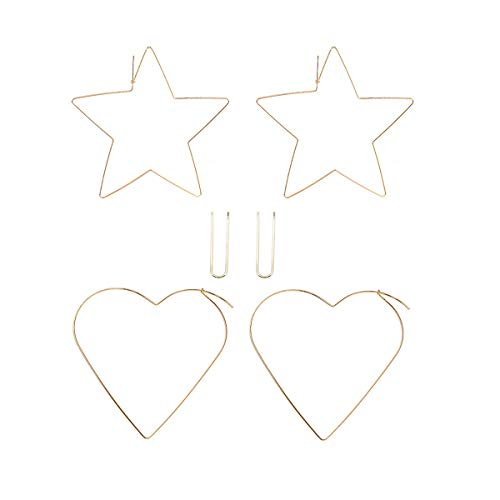 Thin Copper Wire Hoop Earrings Set for Women Big Heart & Star Threader Dangle Hoops (Gold 3 Pairs)