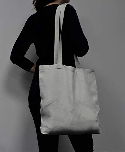 (Stone grey linen Everyday Tote Bag - Casual Bag with Long Taps)