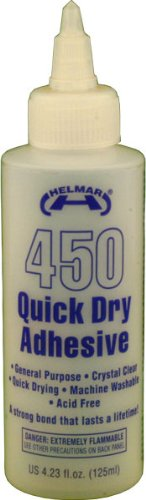 Dries Fabric Clear Adhesive (Helmar 450 Quick Dry Adhesive, 4.23 Fluid Ounce)