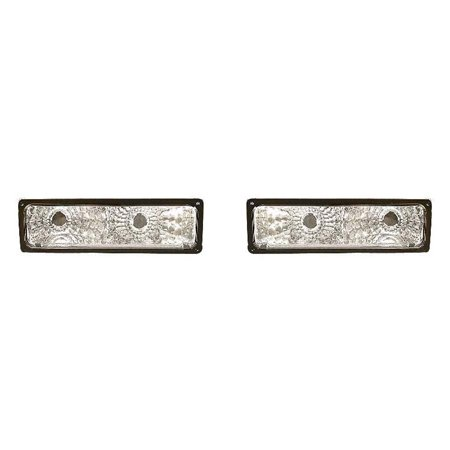 Fits Chevrolet/GMC C/K 2010 Truck 1994-2002 Parking Signal Light Diamond Design Gray Bezel Pair Driver and Passenger Side GM2811104