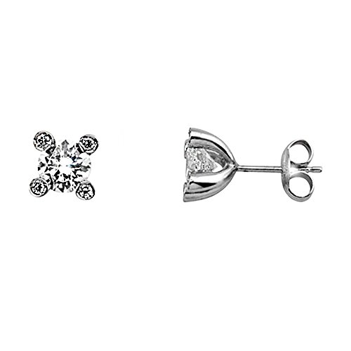 Boucled'oreille or blanc 18k griffe cinq zircons [AA6489]