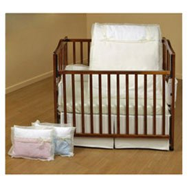 BabyDoll Classic Bows Porta Crib Bedding, Red