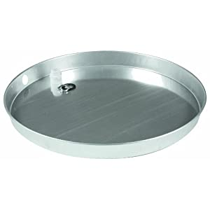 """Camco 20860 30"""" ID x 2"""" Aluminum Water Heater Drain Pan with PVC Fitting"""