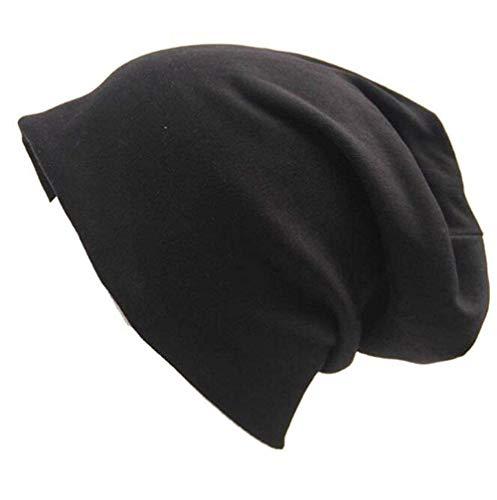 (Century Star Unisex Women Thin Solid Baggy Slouchy Oversized Cotton Sleep Beanie Hat Skull Cap Black)