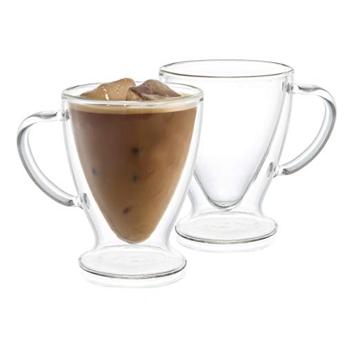 JoyJolt Declan Irish Double Wall Insulated Glass Coffee Cups (Set of 2) - Irish Coffee Set Glass