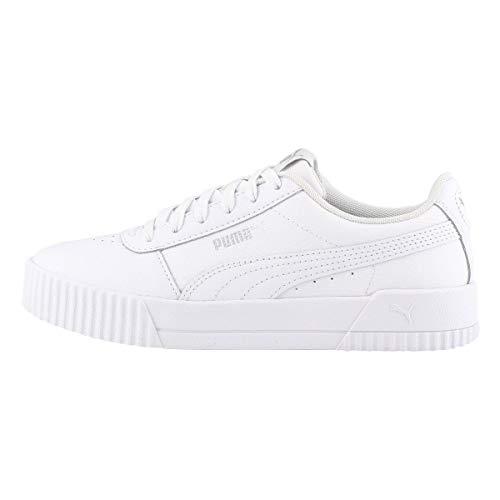 PUMA Women's Carina Sneaker, White White Silver, 8 M US