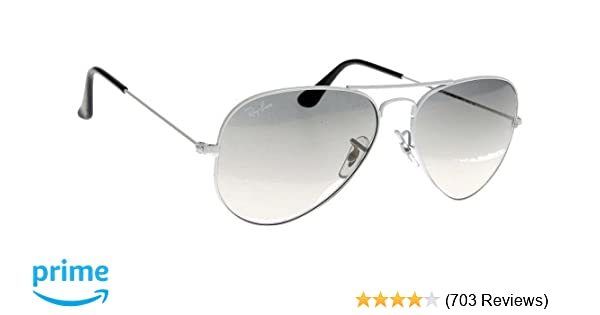 7df4c55be0d Amazon.com  Ray-Ban RB3025 Aviator Silver Frame   Crystal Grey Gradient  Lens  Clothing