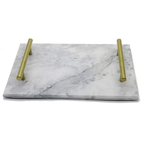 cb42f20d2920b YCD Ziran Marble Serving Tray Dishes Plates with Gold Handle (Grey)