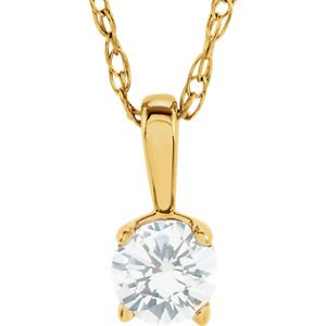 Girls White Sapphire April Birthstone 14k Yellow Gold Pendant Necklace 14