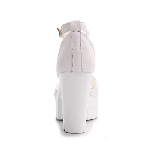 AmoonyFashion Womens Peep Toe Hook and Loop Cow Leather Solid High Heels Sandals White eGfbX