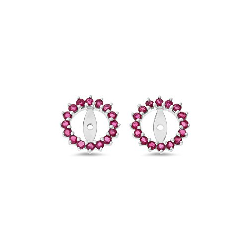 1.24CTW 14K White Gold Genuine Natural Ruby Round Shaped Earrings Jacket by Rendez Vous Jewelry