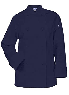 Newchef Fashion Navy Blue Ladies Chef Jacket Long Sleeves