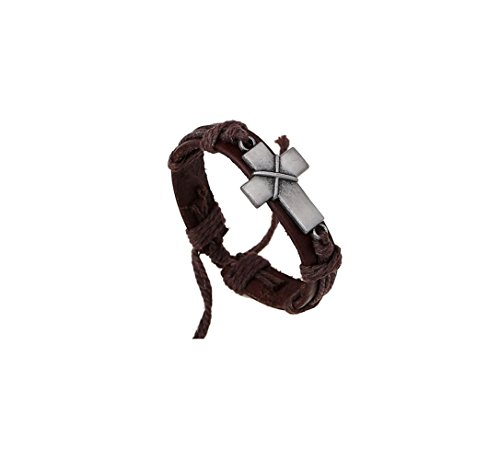 Most Beloved Unisex Leather Charm Bracelets Punk Rock Vintage Geometric Cross Wrap Bangles Wristband