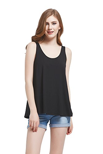 Modeway Women's Casual T-Shirt Sleeveless Swing Tunic Tank Top(Black,L)BE01-3