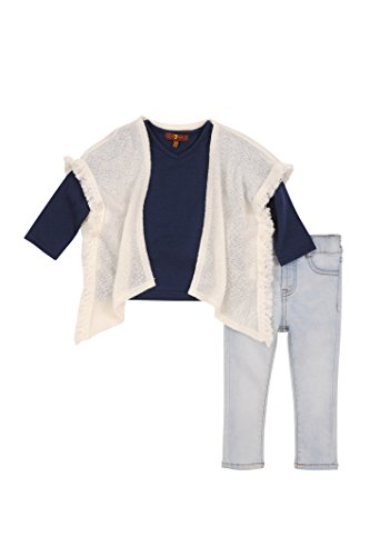 7 for all mankind Toddler Girls' Sweater, Knit Top and Pant Set (More Styles Available), G3276-Oatmeal, (7 For All Mankind Tops)